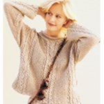 CABLED GARTER-STITCH PULLOVER