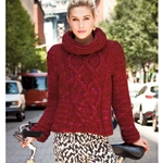 GOWANUS CABLED PULLOVER WITH COWL NECK