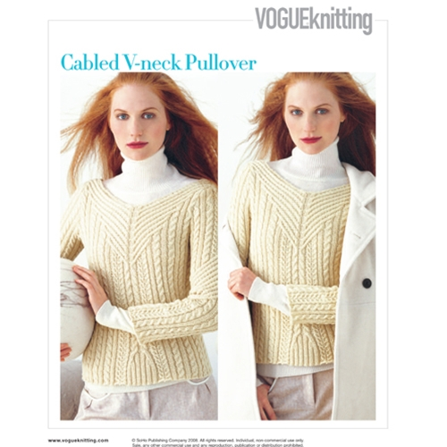 CABLED V-NECK PULL