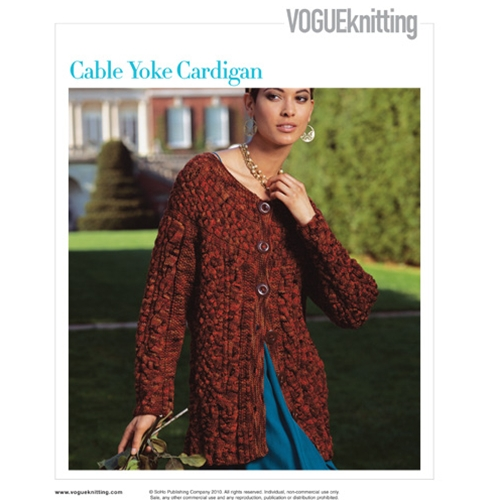 CABLE YOLK CARDIGAN Vogue Knitting Fall 2008 #31