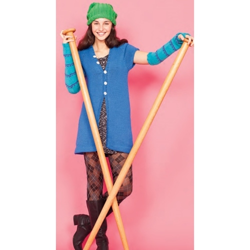RIBBED HAT, CAP SLEEVE CARDI, ARM WARMERS