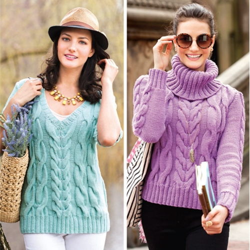 CABLED V-NECK PULLOVER & CABLED LONG SLEEVE TURTLENECK