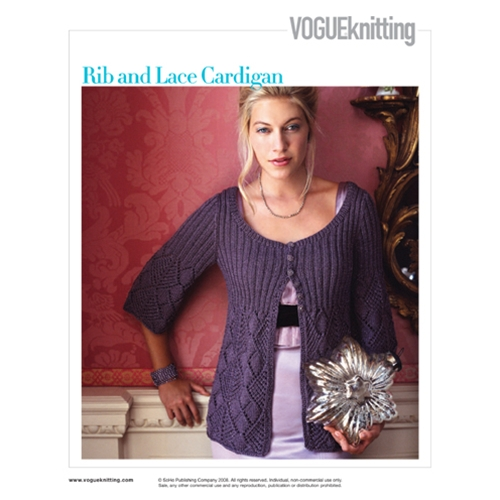 RIB AND LACE CARDIGAN