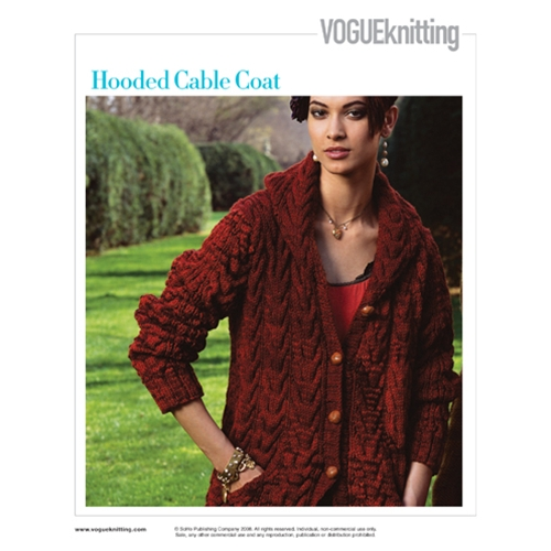 HOODED CABLED COAT