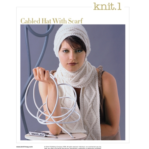 CABLED HAT WITH SCARF