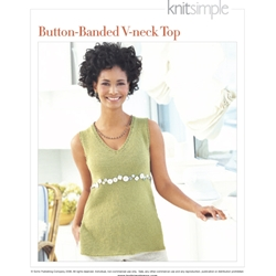 BUTTON-BANDED V-NECK TOP