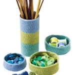 CROCHETED BASKETS AND NEEDLE COZY