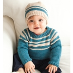 STRIPED RAGLAN PULLOVER/HAT SET