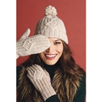 CABLED HAT AND MITTENS SET