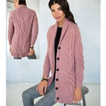 Cabled Long Cardigan